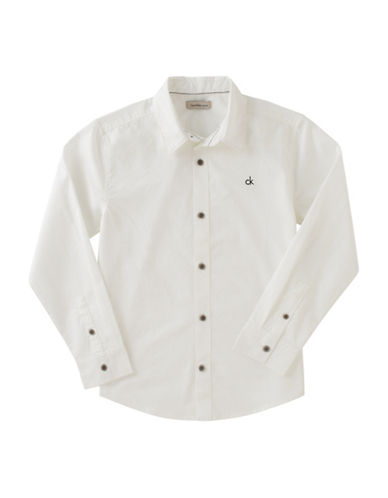 Calvin Klein Texture Long Sleeve Shirt-WHITE-Small