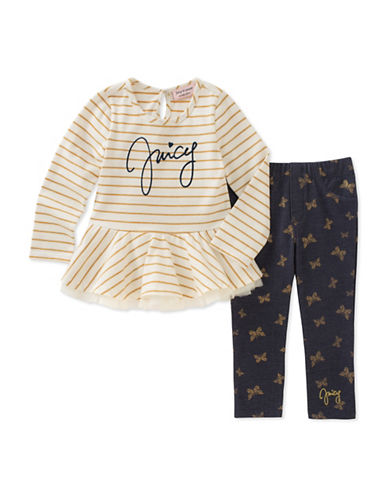 Juicy Couture Two-Piece Striped Dress and Printed Leggings Set-ASSORTED-4X
