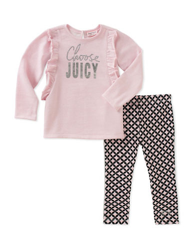 Juicy Couture Two-Piece Ruffled Sweater and Printed Leggings Set-ASSORTED-2X