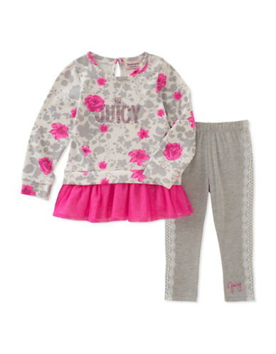 Juicy Couture Two-Piece Floral-Print Dress and Heathered Leggings Set-ASSORTED-2X