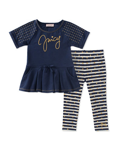 Juicy Couture Two-Piece Embellished Dress and Striped Leggings Set-ASSORTED-3X