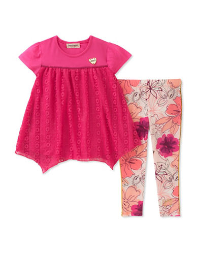 Juicy Couture Two-Piece Lace-Panelled Top and Printed Pants Set-ASSORTED-4