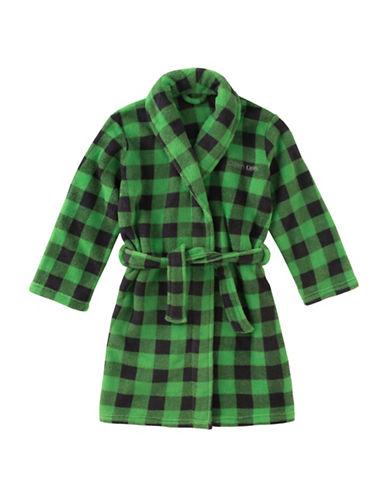 Calvin Klein Plush Plaid Robe with Belt-GREEN-10-12