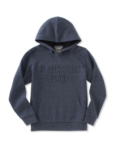 Calvin Klein Embossed Logo Hoodie-BLUE-Small 89252656_BLUE_Small