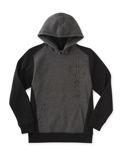 Calvin Klein Logo Debossed Hoodie-BLACK-Small 89252660_BLACK_Small