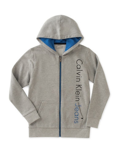 Calvin Klein Spliced Iconic Fleece Zip Hoodie-GREY-Large