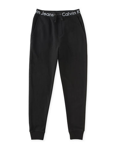 Calvin Klein Logo Waistband Joggers-BLACK-Medium