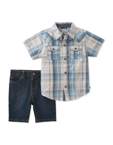 Lucky Brand Plaid Collared Cotton Shirt and Denim Shorts Set-ASSORTED-4T