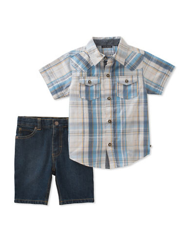 Lucky Brand Plaid Collared Cotton Shirt and Denim Shorts Set-ASSORTED-5