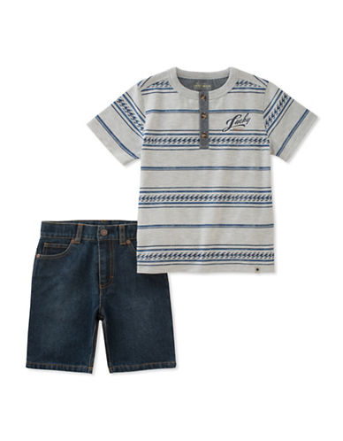 Lucky Brand Printed Henley and Denim Shorts-ASSORTED-3T