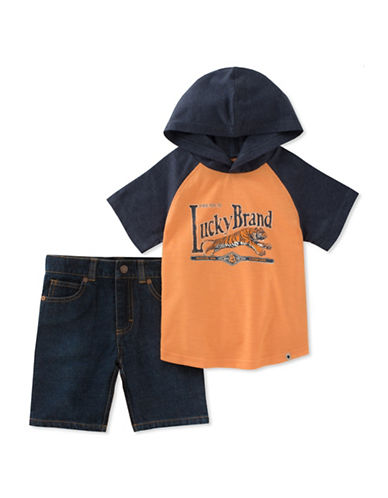 Lucky Brand Raglan Hoodie and Denim Shorts Set-ASSORTED-5