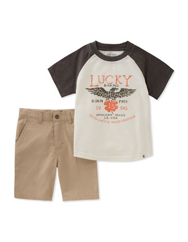 Lucky Brand Raglan Tee and Cotton Twill Shorts Set-ASSORTED-4