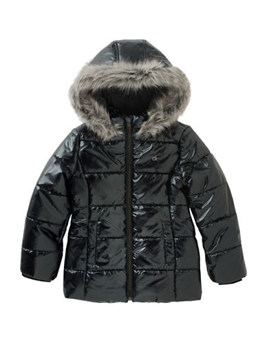 Calvin Klein Metallic Faux Fur Bubble Jacket-BLACK-5