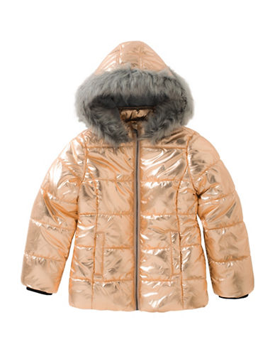 Calvin Klein Metallic Faux Fur Bubble Jacket-COPPER-Small