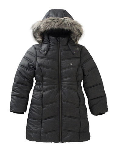 Calvin Klein Quilted Faux Fur-Trimmed Jacket-BLACK-Large