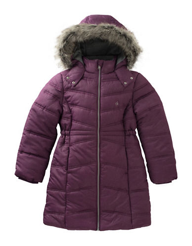 Calvin Klein Alps Quilted Faux Fur-Trimmed Jacket-PURPLE-Medium