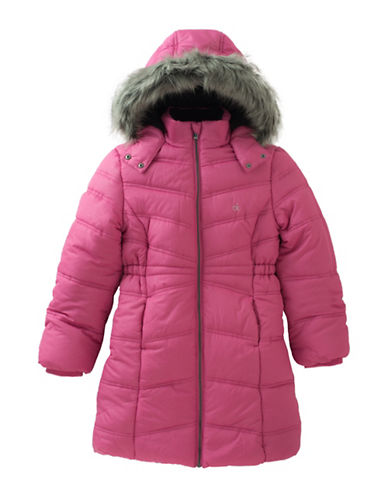 Calvin Klein Alps Quilted Faux Fur-Trimmed Jacket-PINK-Large