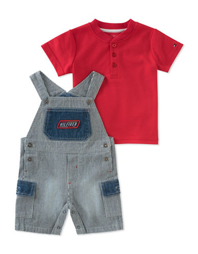 Tommy Hilfiger Cotton Henley and Stripe Overall Set-ASSORTED-18 Months