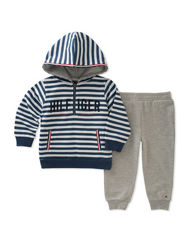 Tommy Hilfiger Two-Piece Stripe Hoodie and Jogger Set-ASSORTED-24 Months