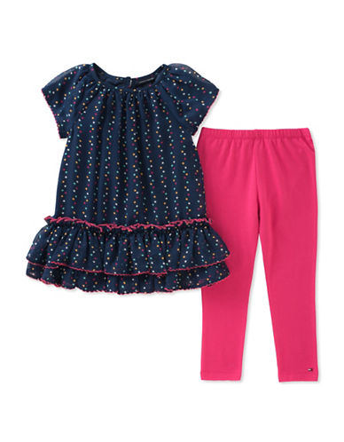 Tommy Hilfiger Ruffle Dress and Leggings Set-ASSORTED-24 Months