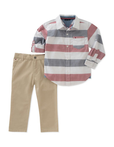 Tommy Hilfiger Two-Piece Oxford Shirt and Pants Set-ASSORTED-24 Months