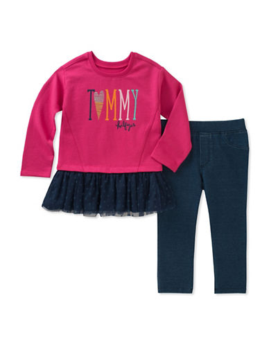 Tommy Hilfiger Two-Piece Frill Top and Legging Set-ASSORTED-2X