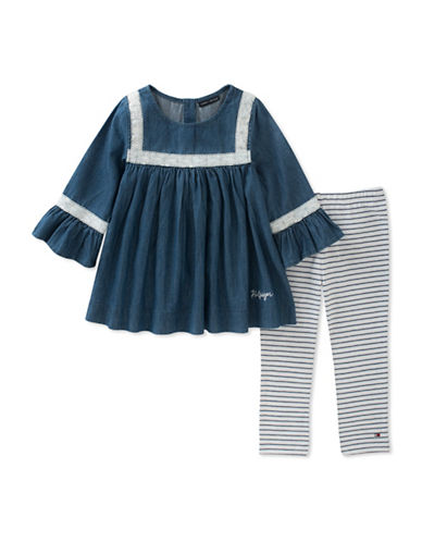 Tommy Hilfiger Two-Piece Denim Dress and Striped Leggings Set-ASSORTED-12 Months