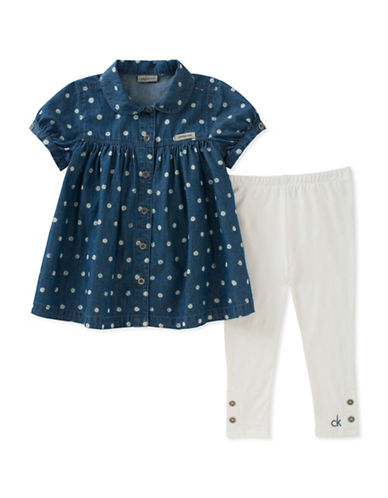 Calvin Klein Two-Piece Dotted Tunic and Leggings Set-ASSORTED-18 Months