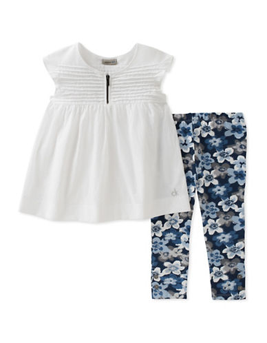 Calvin Klein Two-Piece Pintuck Tunic and Floral Leggings Set-ASSORTED-12 Months