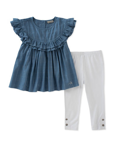 Calvin Klein Two-Piece Ruffle Tunic and Leggings Set-ASSORTED-24 Months