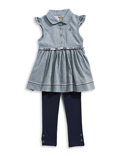 Calvin Klein Frilled Cotton Dress and Leggings Set-ASSORTED-4X