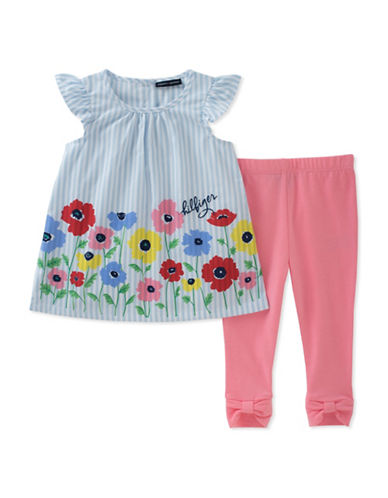 Tommy Hilfiger Two-Piece Floral Frill Tunic and Leggings Set-ASSORTED-24 Months