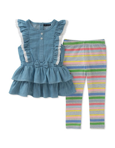 Tommy Hilfiger Two-Piece Frill Tunic and Stripe Leggings Set-ASSORTED-12 Months