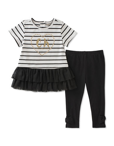 Calvin Klein Two-Piece Striped Top and Leggings Set-ASSORTED-18 Months