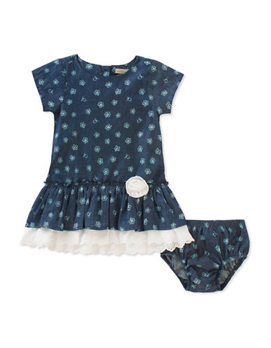 Calvin Klein Two-Piece Floral Denim Dress and Bloomer Set-ASSORTED-18 Months