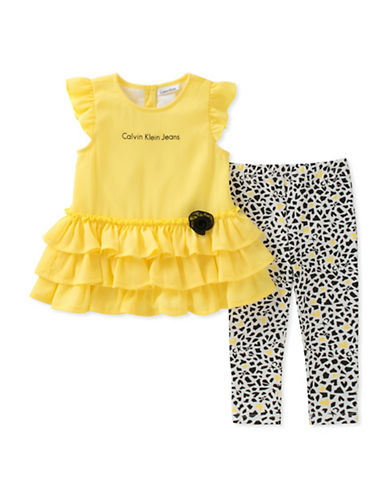 Calvin Klein Two-Piece Ruffle Tunic and Printed Leggings Set-ASSORTED-24 Months