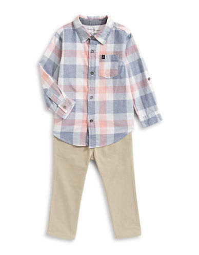 Calvin Klein Two-Piece Plaid Sport Shirt and Pants Set-ASSORTED-4T