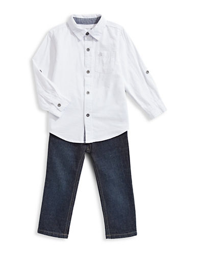 Calvin Klein Two-Piece Sport Shirt and Jeans Set-ASSORTED-2T