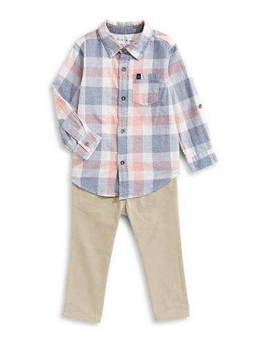 Calvin Klein Two-Piece Plaid Sport Shirt and Pants Set-ASSORTED-4