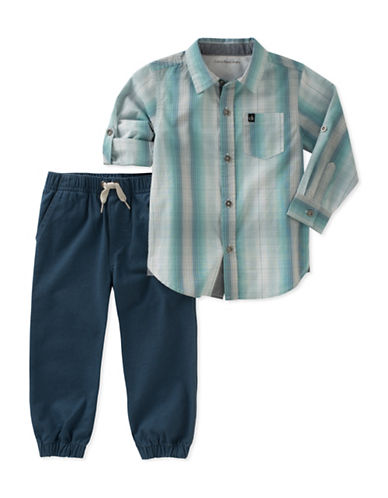 Calvin Klein Two-Piece Plaid Shirt and Twill Joggers Set-ASSORTED-4