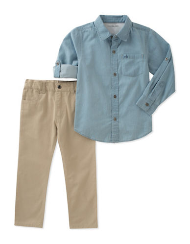 Calvin Klein Two-Piece Chambray Shirt and Twill Pants Set-ASSORTED-12 Months