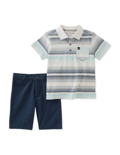 Calvin Klein Two-Piece Stripe Polo and Short Set-ASSORTED-3T