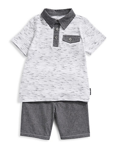 Calvin Klein Two-Piece Heathered Cotton Polo and Shorts Set-ASSORTED-4T