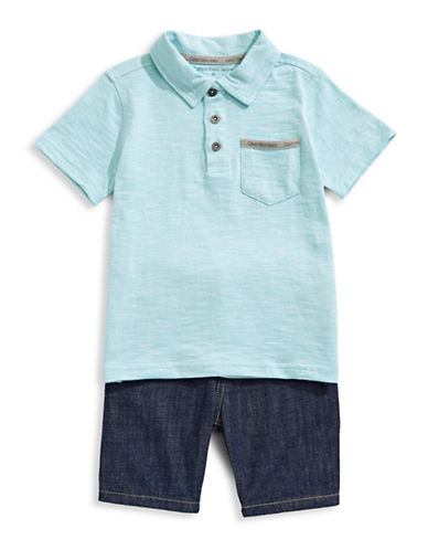 Calvin Klein Two-Piece Cotton Polo and Shorts Set-ASSORTED-6