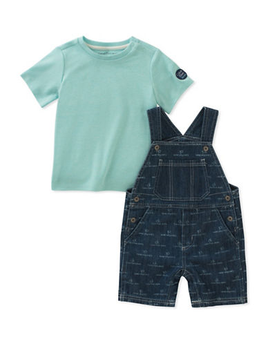 Calvin Klein Two-Piece Denim Shortall and Tee Set-ASSORTED-12 Months