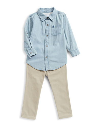 Calvin Klein Two-Piece Denim Shirt and Pants Set-ASSORTED-2T