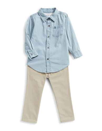 Calvin Klein Two-Piece Denim Sport Shirt and Pants Set-ASSORTED-7