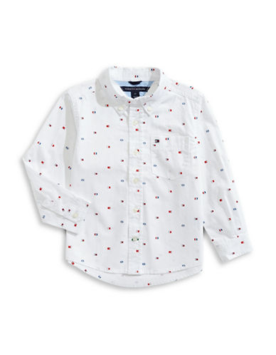 Tommy Hilfiger Cotton Collared Flag Shirt-WHITE-6