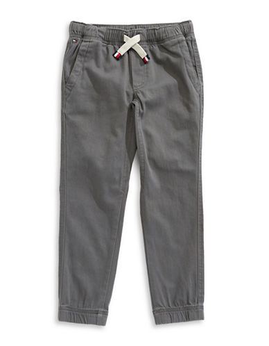 Tommy Hilfiger Cotton-Blend Jogger Pants-GREY-Small