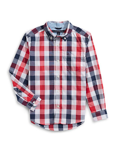 Tommy Hilfiger Plaid Hi-Lo Sport Shirt-MULTI-X-Large